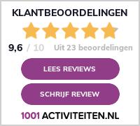 Beoordelingsbanner met de score op 1001activiteiten.nl